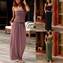 289804d68b8c86 Frauen Bandeau Urlaub Off Schulter Lange Kleid Damen Sommer Solide Maxi  Kleid(China)