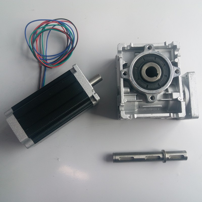 10:1 Worm Gearbox RV030 Speed Reducer 14mm output Nema23 Stepper Motor 112MM 3NM 430Oz-in kit Convert 90 degree For CNC Router10:1 Worm Gearbox RV030 Speed Reducer 14mm output Nema23 Stepper Motor 112MM 3NM 430Oz-in kit Convert 90 degree For CNC Router