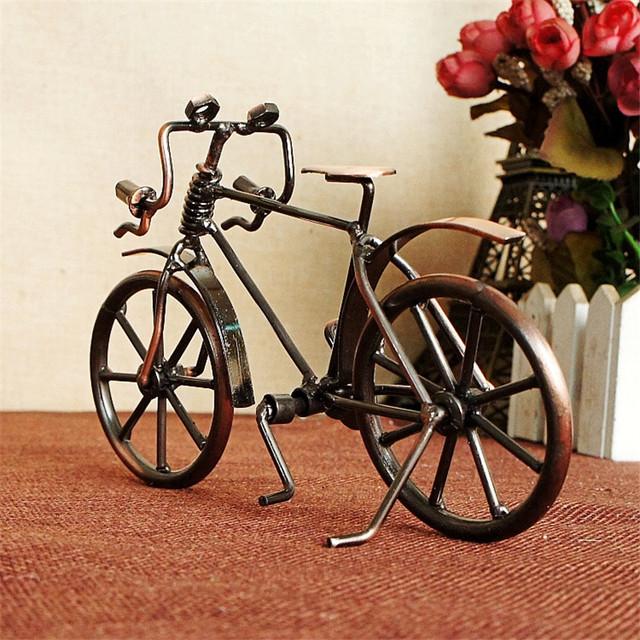 bicicleta figuritas miniaturas niños juguete de cumpleaños Regalos artesanías creativasAntiguo modelo de bicicleta Metal artesanía hogar Decoración VIntage