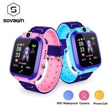 S12 akıllı saat Çocuklar IP67 Su Geçirmez Spor Akıllı Saat Android Çocuk SOS Çağrı Smartwatch Kamera SIM Kart ile HD Dokunmatik Ekran