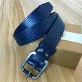 Genuine Leather Men Belt Cutout Vintage Belt Buckle Wide Waist Male Belt Ceinture Homme Cinturones Hombre Blue Belt MBT0434