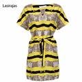 2017 Fashion Summer Sundress Woman Loose Big Size Yellow Stripper Dress Short Sleeve Casual Dresses with Belt Vestidos Feminina