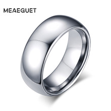 Meaeguet Men's Wedding Ring High Polished Wedding Bands Tungsten Carbide Ring 8mm Engagement Jewelry