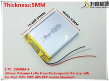 3.7V,1500mAH 504050 3 line (polymer lithium ion / Li-ion battery ) for Smart watch,GPS,mp3,mp4,cell phone,speaker