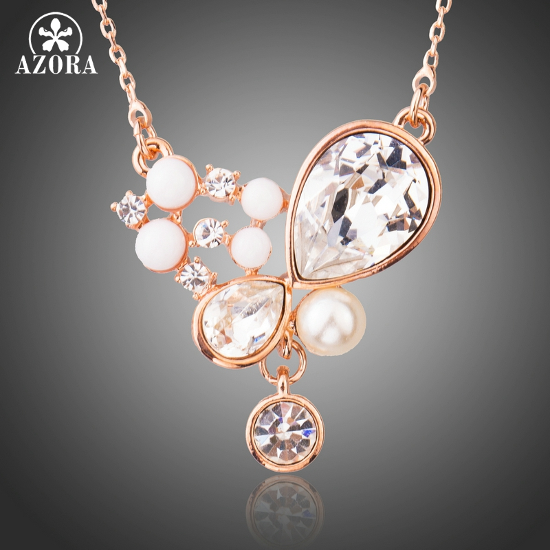 AZORA Romantic Rose Gold Color Clear Crystals with White Resin Pendant Necklaces for Women Simulated Pearl Jewelry TN0222