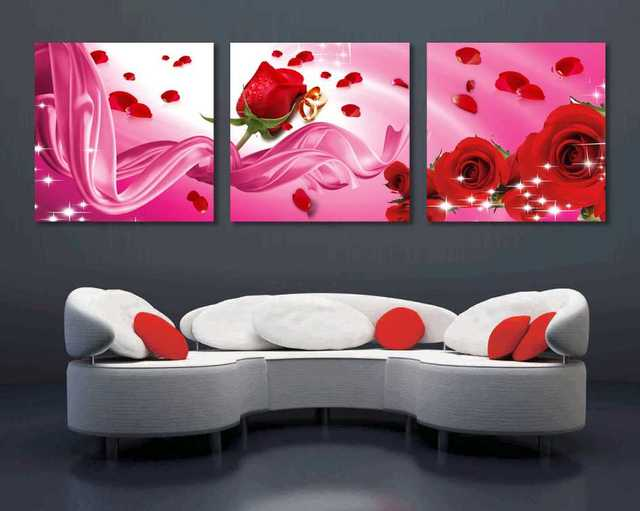 3 pieces Modern red rose and stars Print Canvas Art Oil Painting ...