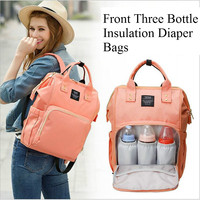 Fashion Mummy Maternity Baby Nappy Changing Diaper Bag Front Three Bottle Insulation Bags&Rear Anti-theft Bag&Tissue Paper Bags