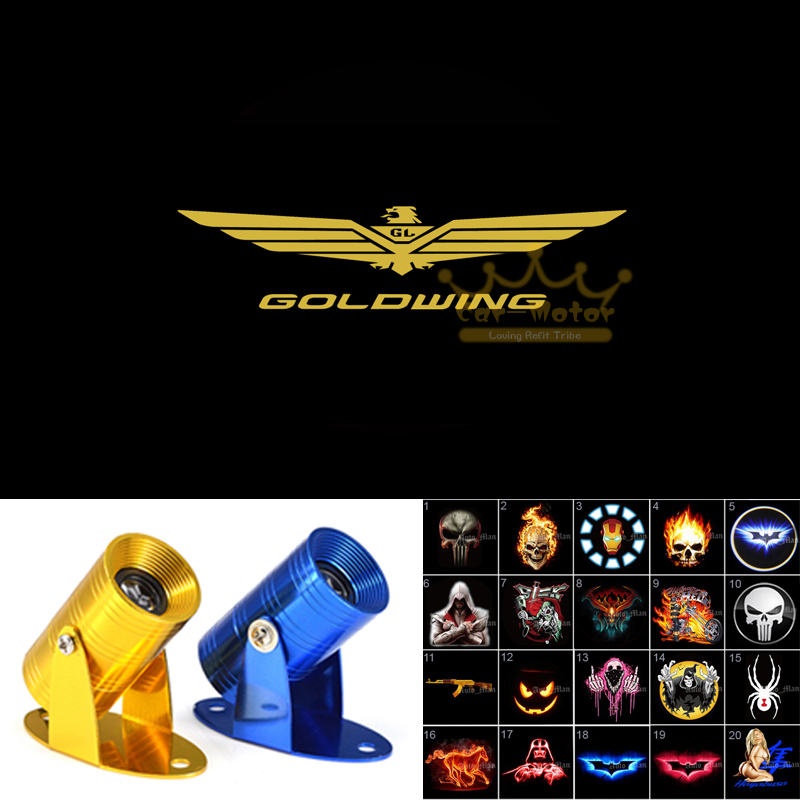 GOLDWING Logo Motorcycle Ghost Shadow Spotlight Laser Projector LED Logo Light For Honda