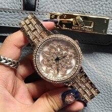 Лучшие Качества Женская Мода Часы Леди Сияющий Вращения Платье Смотреть Большой Алмаз Камень Наручные Часы Леди Серебро Выросли Золотые Часы