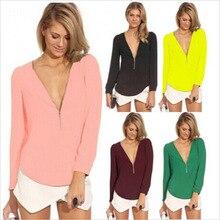 Blouses & Shirts Chiffon long sleeve shirt Zipper decoration Fashion sexy chiffon v-neck shirts temperament of women's clothing