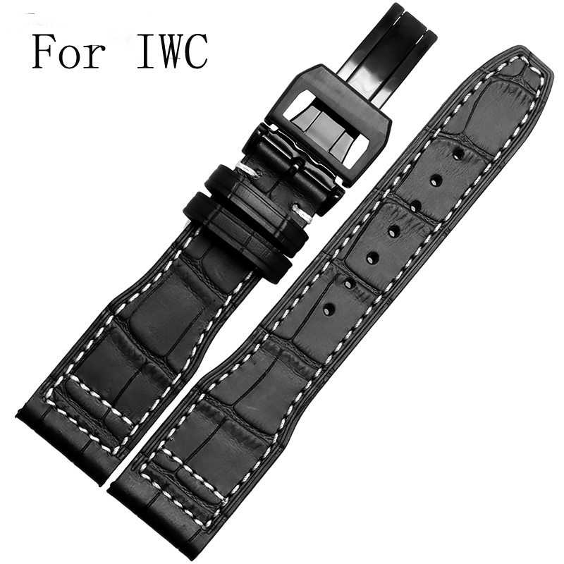 Luxe bande, New Black 21 mm 22 mm en cuir véritable bracelet de montre bracelet pour IW C Portofino pilote portugais montre, Avec LOGO