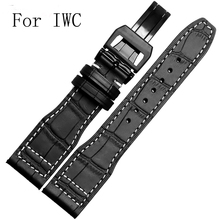 Luxury Band,New Black 21mm 22mm Genuine Leather Watch Strap Watchband for IW C Portofino Pilot Portuguese Watch,With LOGO