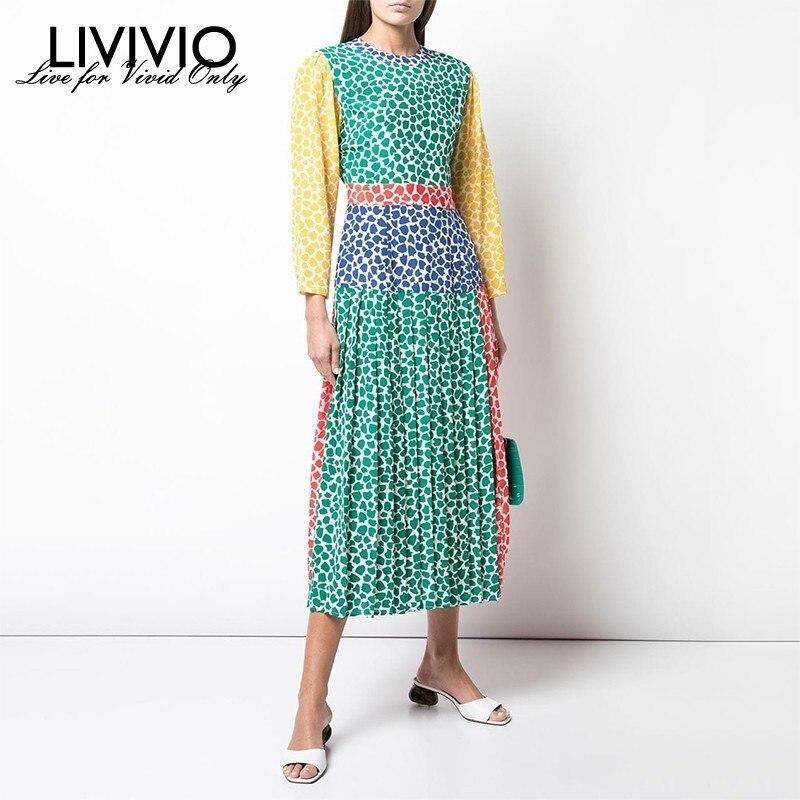 [LIVIVIO] été Hit couleur Patchwork robe de femmes O cou à manches longues taille haute Midi plissée robes de femmes mode nouveau 2019
