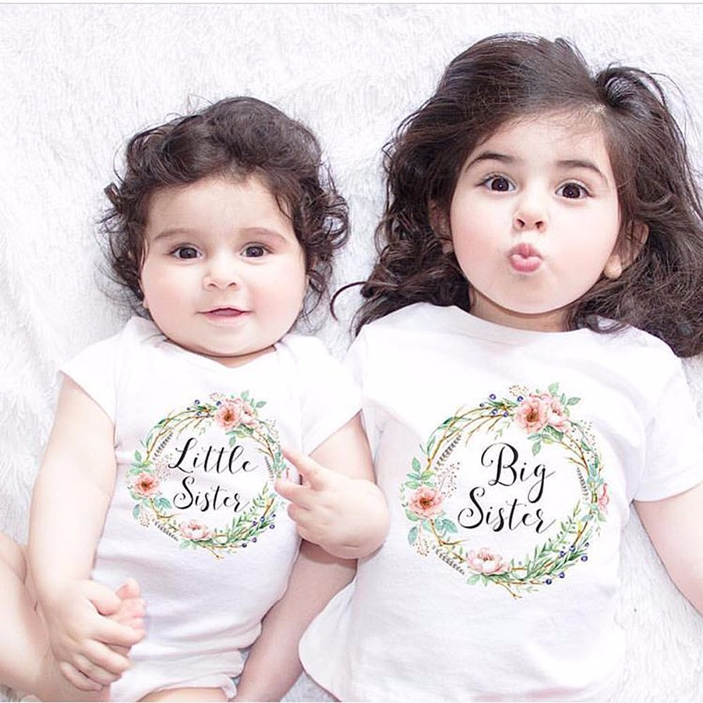 puseky cotton cute baby girl big sister tops little brother sister