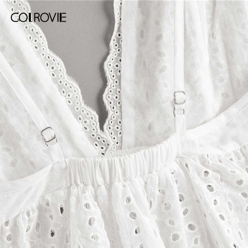 COLROVIE blanc solide Schiffy à volants ourlet profond col en V Boho Top femmes vêtements 2019 été coréen Girly t-shirts vacances gilet