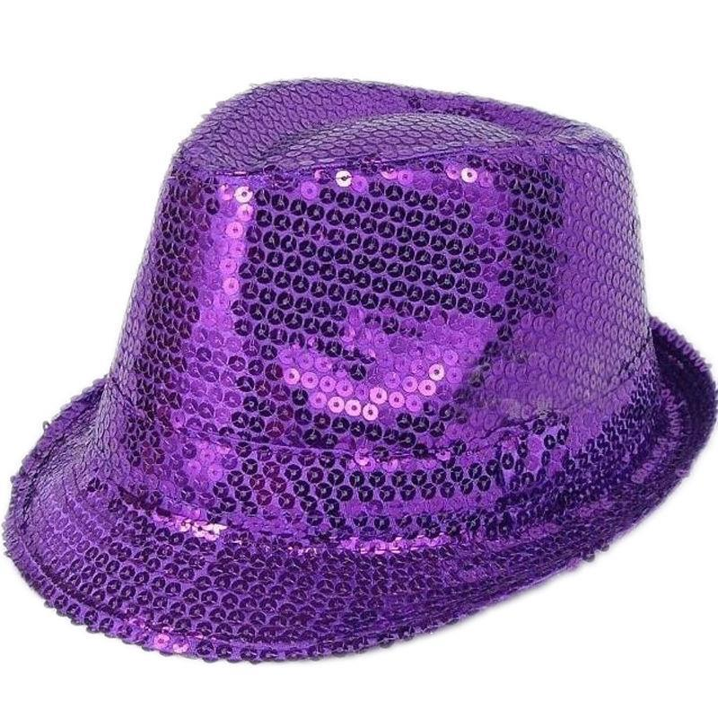 b32915a4cb78a Men Women Glitter Sequin Fedora Trilby Cap Dance Jazz Hat Gangster Party  Costume-in Fedoras from Apparel Accessories on Aliexpress.com