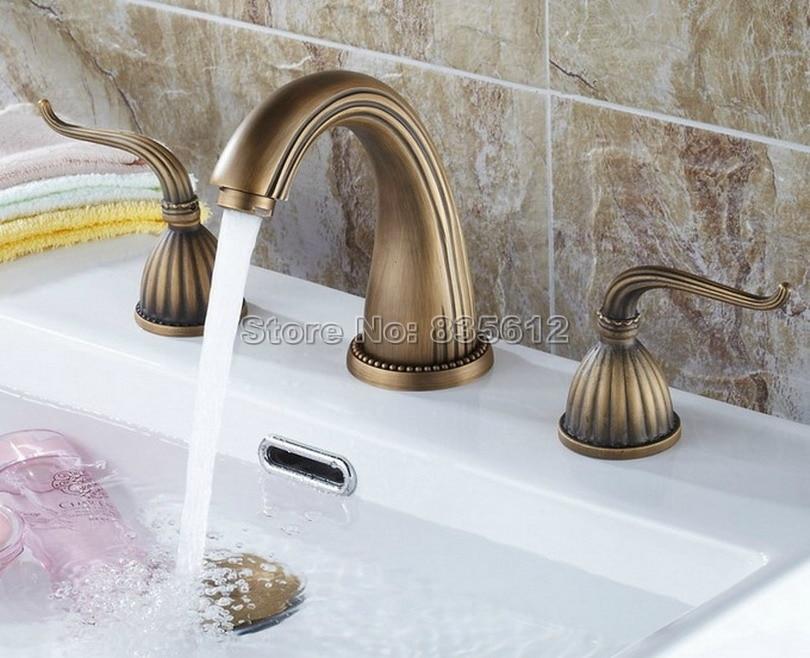 Cheap Bathroom Faucets Single Handle Silver Brass Vessel: Antique Brass Double Handle Widespread Roman Bathroom Bath