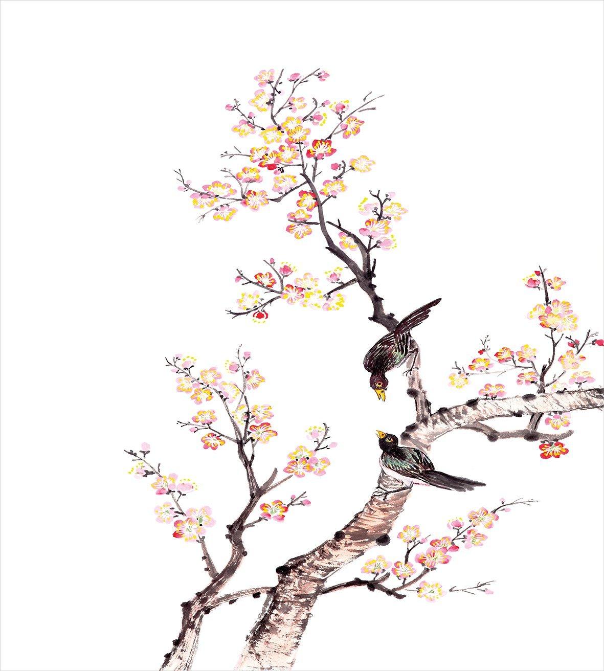 Sztuki kołdra pokrywa zestaw tradycyjny chiński farby kwiaty kwiat śliwy ptaki na drzewie romans druku dekoracyjny zestaw pościeli w Zestawy pościeli od Dom i ogród na  Grupa 2