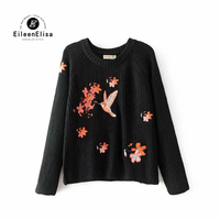Women Runway Sweater Pullover 2017 Embroidered Flowers And Bird For Black Sweater Women