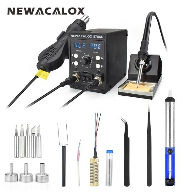 NEWACALOX 220 В 750 Вт фена 60 Вт паяльник двойной светодиодный цифровая регулировка 2 в 1 SMD BGA паяльная станция сварочный аппарат