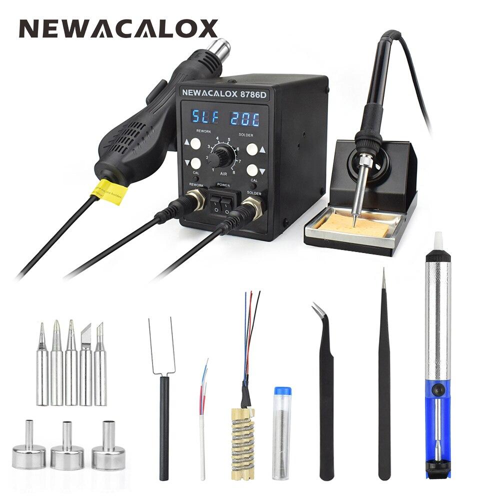 NEWACALOX 220 V 750 W pistola de aire caliente 60 W soldadura doble de hierro LED Digital ajustar 2 en 1 SMD BGA soldadura Estación de soldadura conjunto