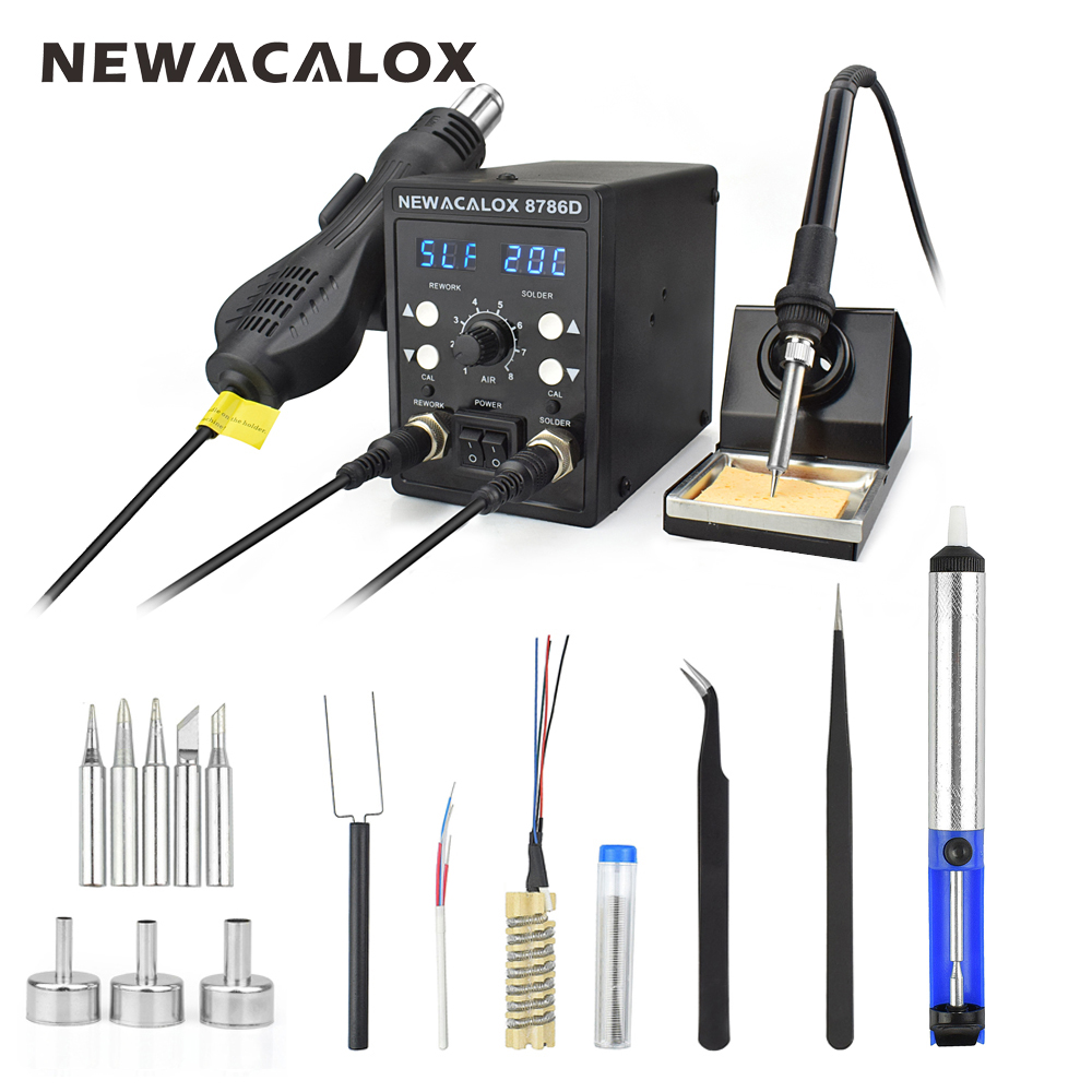 NEWACALOX 220V 750W Hot Air Gun 60W Soldering Iron Double LED Digital Adjust 2 In 1 SMD BGA Rework Soldering Station Welding Set