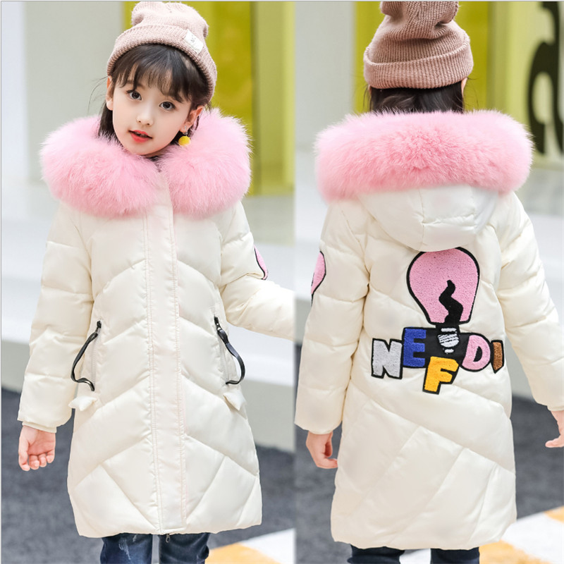 Girl Long Down Coat Jacket Winter Outerwear 2018 New Fashion Big Fur Collar Warm Letters Embroidery Children Jacket High Quality deep blue fashion long sleeves side pockets embroidery jacket