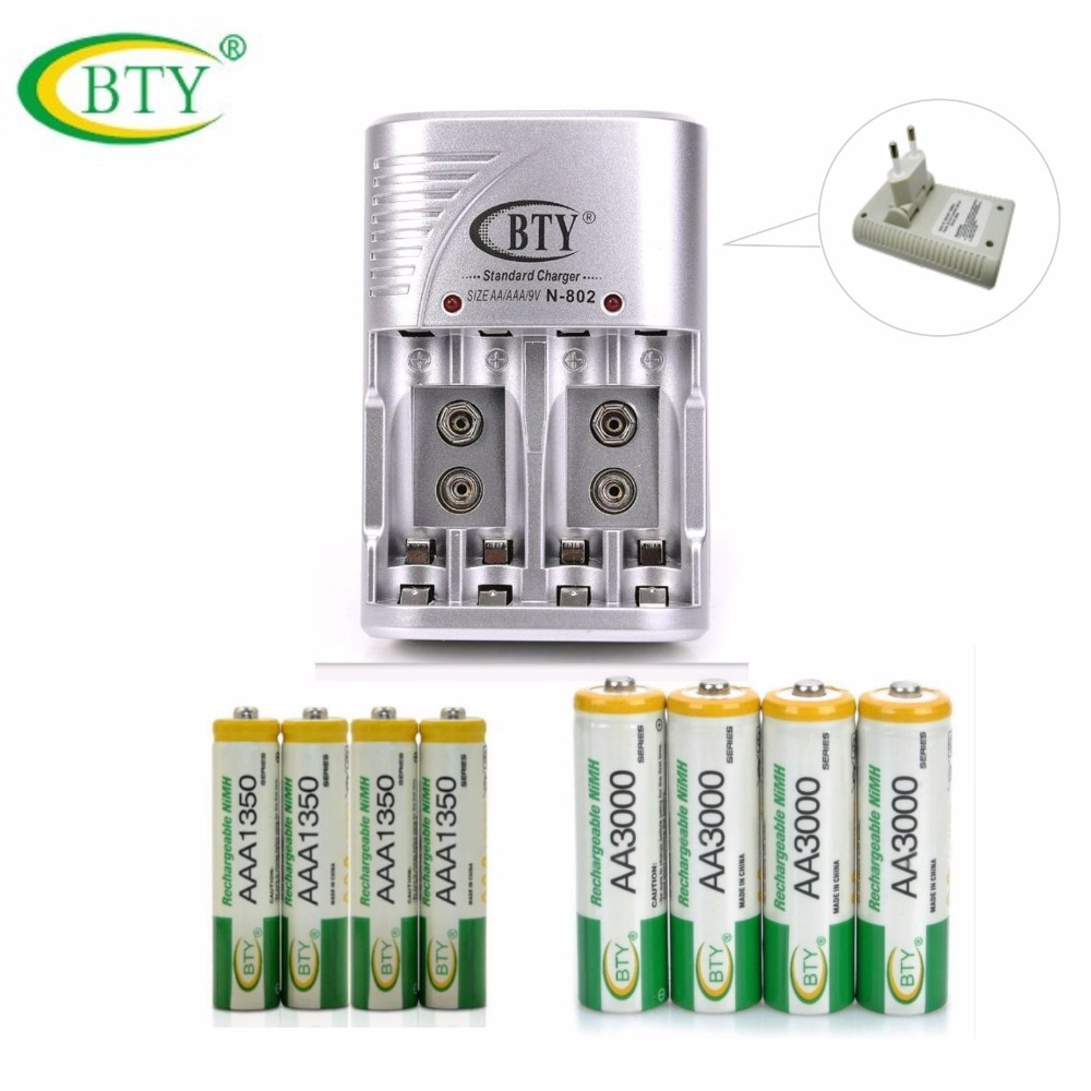 BTY Rechargeable Battery Kit 4pcs 3000series 850mah AA Battery + 4pc 1350series 350mah AAA Battery+1pc 802 US EU Battery Charger