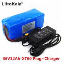 LiitoKala 36 V 12AH batería de bicicleta eléctrica integrada en 20A BMS batería de litio Paquete de 36 Voltios con 2A carga E batería de bicicleta XT60 Pllug