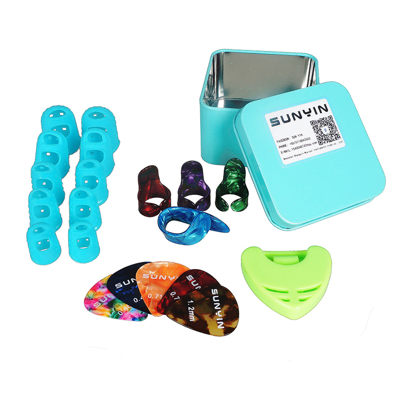 Guitar Accessories kit Silicone Fingertip Protectors Guitar Finger Accessories Fingerstall Full-size&Guitar Finger Pick Plectrum цены онлайн
