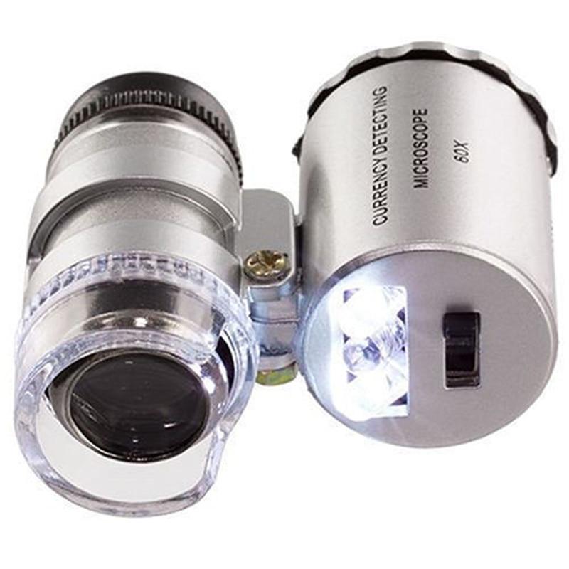 OOTDTY 60x Mini Pocket LED UV Jewellers Loupe Microscope Glass Jewellery Magnifier