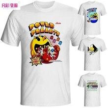 Funny Pacman T-shirt Brand Casual Pac Man White Printed T Shirt Nostalgic Parody Video Game Tshirt Men Summer Fashion Style Tee