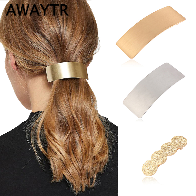 AWAYTR Simple Korean Metal Hair Clips For Women Hairpin   Headwear   Hair Barrette Ponytail Holder Girls Hair Accessories Female
