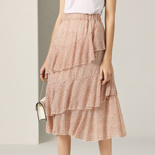 Midi Skirt Women Summer 2019 New Fashion Floral Printed Ruffles Elastic Waist French Style Cake Female All Matched S-L