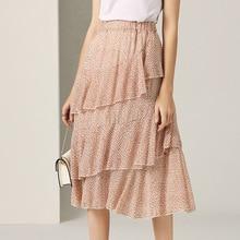 цена на Midi Skirt Women Summer 2019 New Fashion Floral Printed Ruffles Elastic Waist French Style Cake Skirt Female All Matched S-L