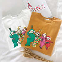 Women Ulzzang Kawaii T shirt Korean Style Clothes Cute Cartoon Teletubbies Printed Cotton Tshirt Harajuku Streetwear Tee Tops
