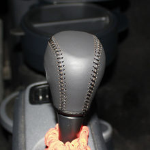 Cubierta de palanca de cambios de cuero genuino para la cubierta del coche inteligente Benz en la cubierta del pomo del cambio de marchas