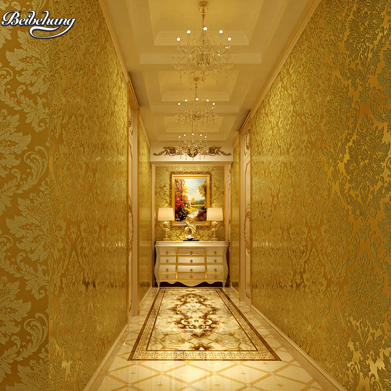 Купить с кэшбэком beibehang grade gold foil silver foil wall embossed wire drawing roof ceiling trough ceiling porch KTV club gold wallpaper