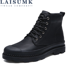 LAISUMK Genuine Leather Men Boots Autumn Winter Ankle Fashion Footwear Lace Up Shoes Mens High Quality Vintage Males