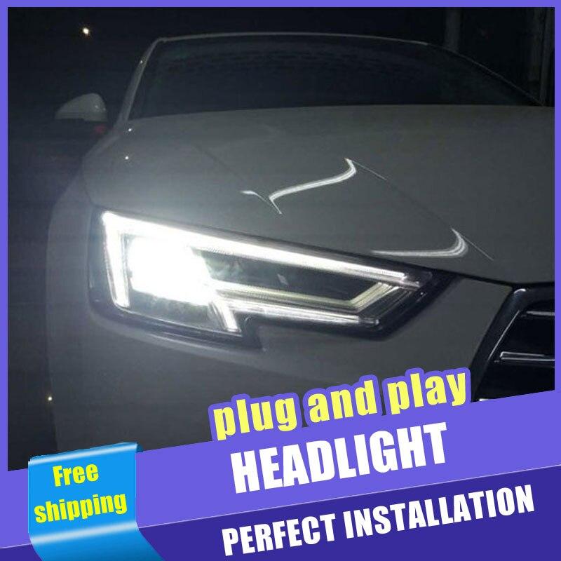 2 pièces voiture Style LED phares pour Audi A4 2016-2019 pour A4 lampe frontale LED DRL lentille Double faisceau H7 caché xénon bi xénon lentille