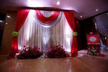 Red wedding Backdrop Wholesale stage decoration wedding supplies 10ft*20ft Stage Backdrop with Detachable Swag