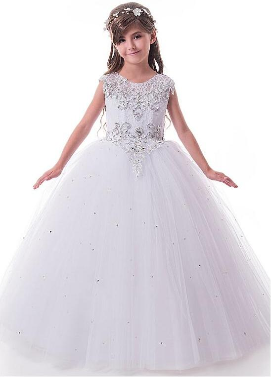 Sparkly Tulle Lace Scoop Neckline Cap Sleeves Ball Gown Flower Girl Dresses With Beaded Lace Girls Communion Dress недорго, оригинальная цена