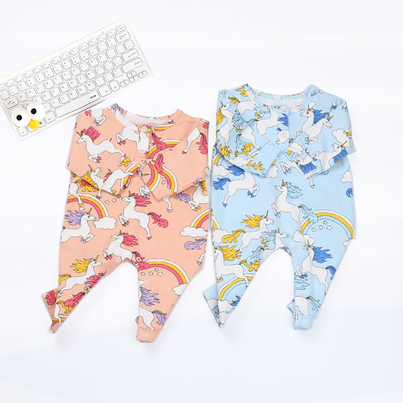 Baby Autumn Spring Rompers Cotton Graffiti Horse Print Infant Girls Clothes Long Sleeve Newborn  Romper  Children's Clothing he hello enjoy baby rompers long sleeve cotton baby infant autumn animal newborn baby clothes romper hat pants 3pcs clothing set