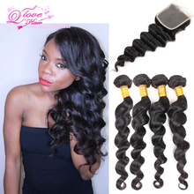 Brazilian Loose Wave With Closure 4 Bundles Human Hair Loose Wave With Closure Mocha Hair Products With Closures New Arrival