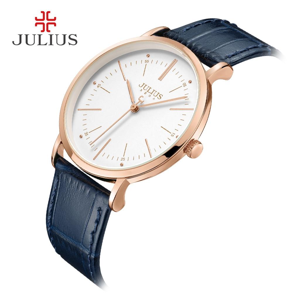 JULIUS zegarek kwarcowy męskie zegarki Top marka luksusowe prosta konstrukcja biznes stylowy skórzany pasek mężczyzna zegar Dropshipping Reloj JA 1003 w Zegarki kwarcowe od Zegarki na  Grupa 2