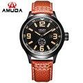 Moda AMUDA marca de lujo para Hombre reloj de cuarzo ocasional reloj analógico militar Auto fecha cuero genuino reloj Hombre Relojes Hombre