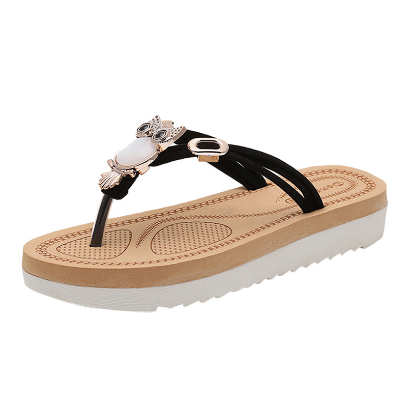 Women shoes 2018 hot fashion women sandals flip on bohemia beaded owl slipper flat clip toe sandals women summer style flip flop women cork slipper flip flops sandals women mixed color bohemia thick bottom slides shoes open toe flat summer style plus size 8