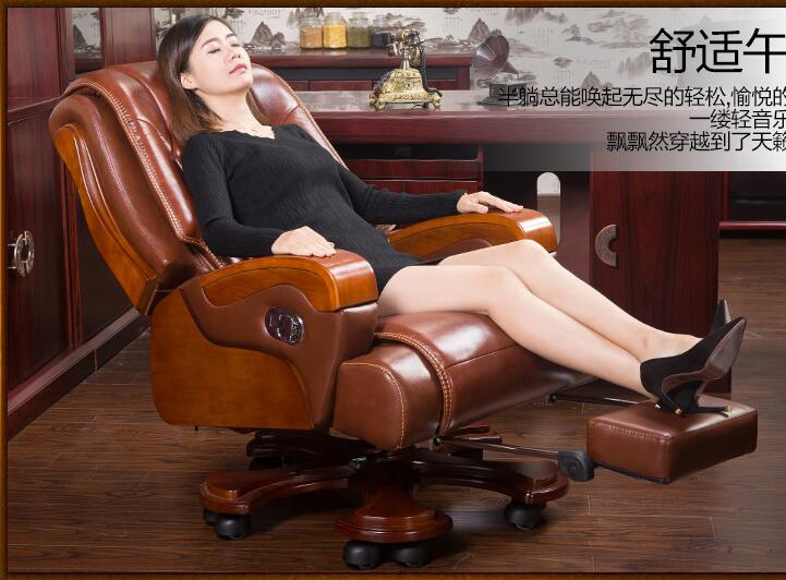 Real wood chair. Leather boss chair. Can massage office chair. Lift and swivel chair home computer chair011 the silver chair