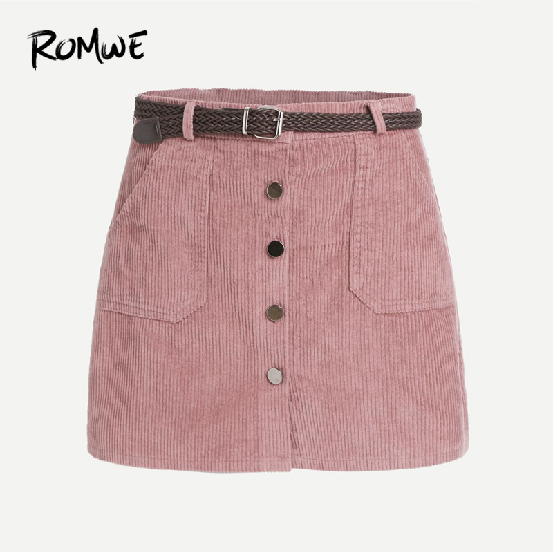fc9cbf0cf1 ROMWE Pencil Skirts Womens Autumn Casual Pink Corduroy Single Breasted  Pockets Bodycon Mini Skirt With Belt