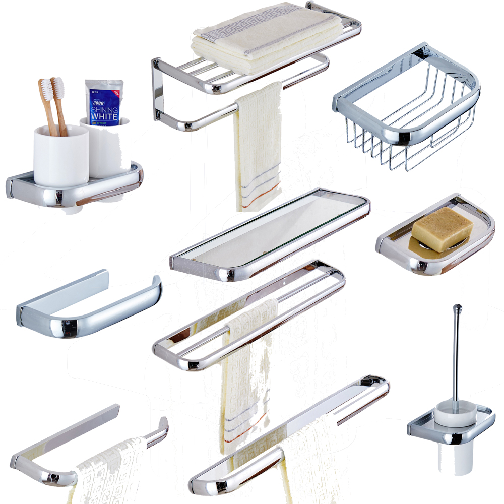 Leyden Chrome Copper Bath Hardware Sets Wall Mounted Towel Bars Towel Racks Toilet Paper Holder Soap Dish Toothbrush Holders image